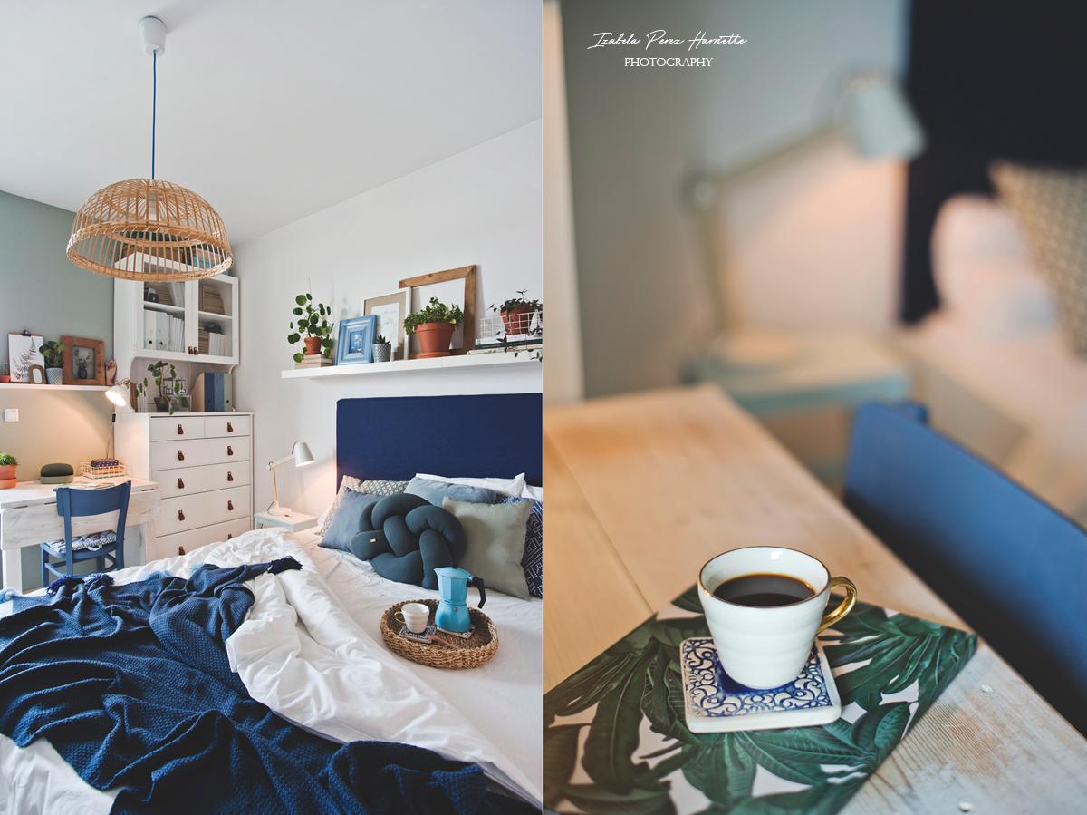 skandynawskie wnętrze, boho wnętrze, kolor we wnętrzu, biała sypialnia, rośliny we wnętrzu