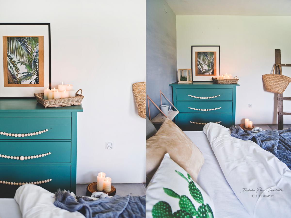 zielona komofa, green cabinets, świece, hygge