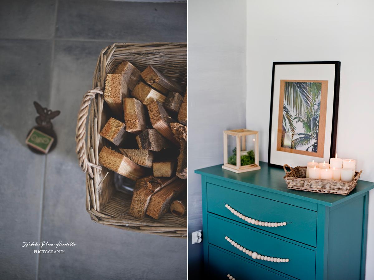 drewno na opał, zielona komoda, plakat palmy