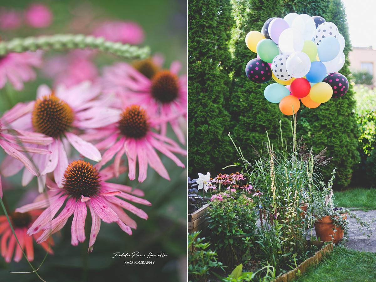 przyjęcie w ogrodzie, bufet, pierwsze urodziny, garden party,kids party, flowers, baloons