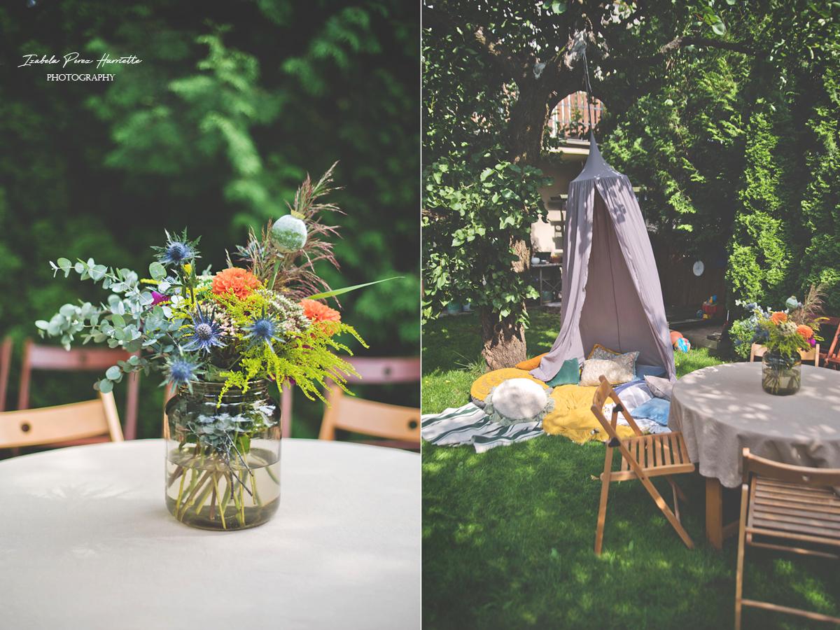 przyjęcie w ogrodzie, bufet, pierwsze urodziny, garden party,kids party, baldachim, bukiet