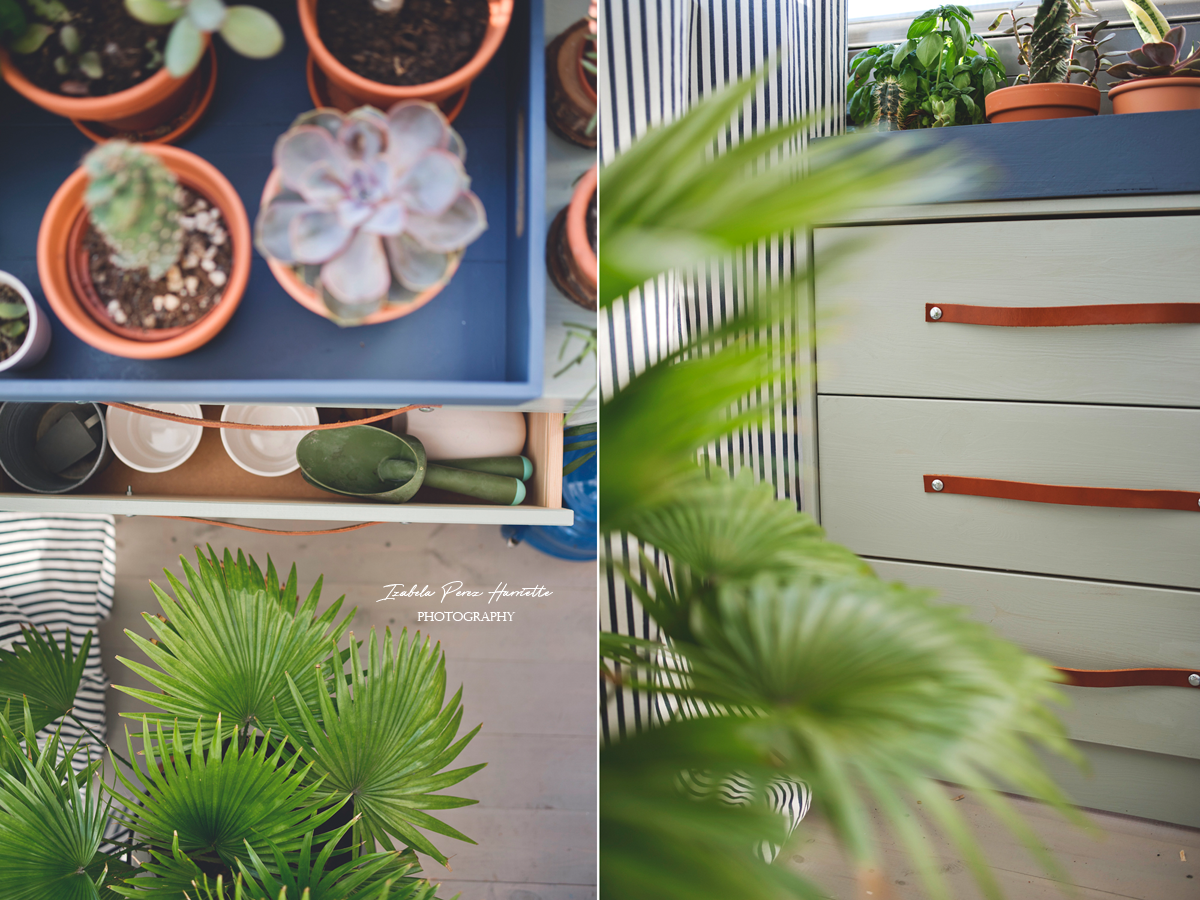 RAST make over, leather handles, diy, home plants. succulents , ikea hacks , balcony