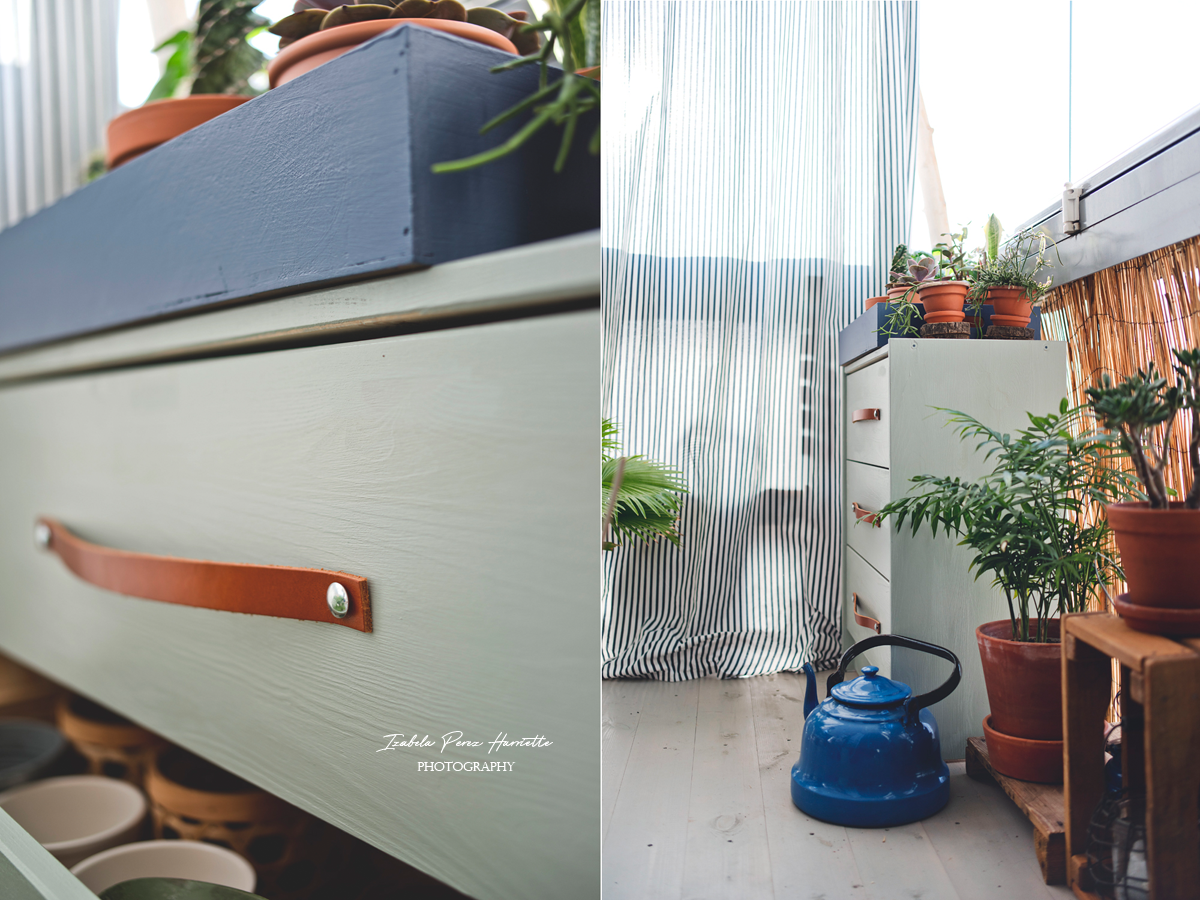 RAST ikea hacks, leather handles diy,. home plants , balcony's courtains