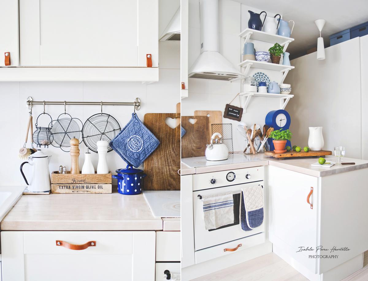 white ikea kitchen, leather handles diy, scandinavian kitchen , wood countertop