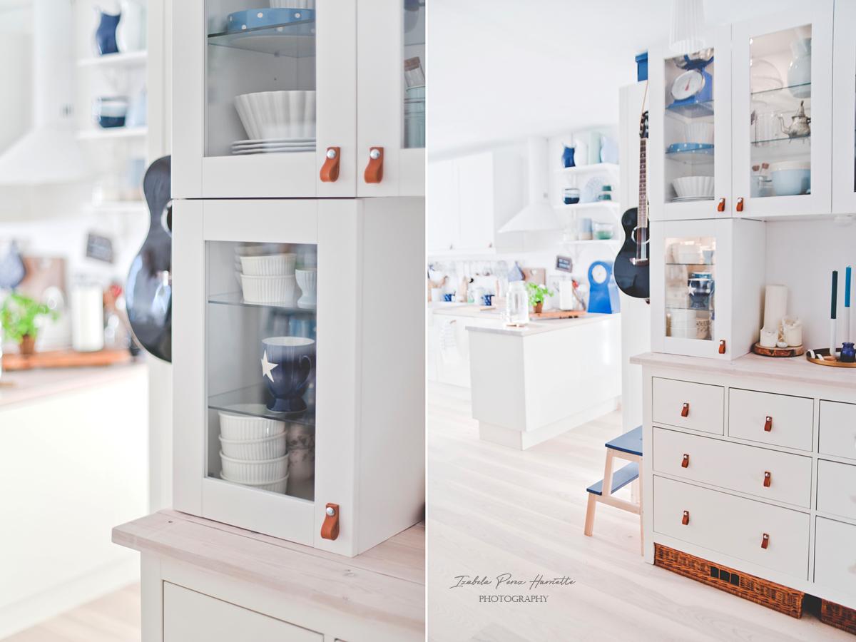 white ikea kitchen, leather handles diy, scandinavian kitchen , wood countertop, hemmnes make over