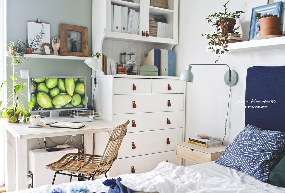 rattan chair, white interior, interior with plants, dark wall, home office, boho scandi interior, bedroom