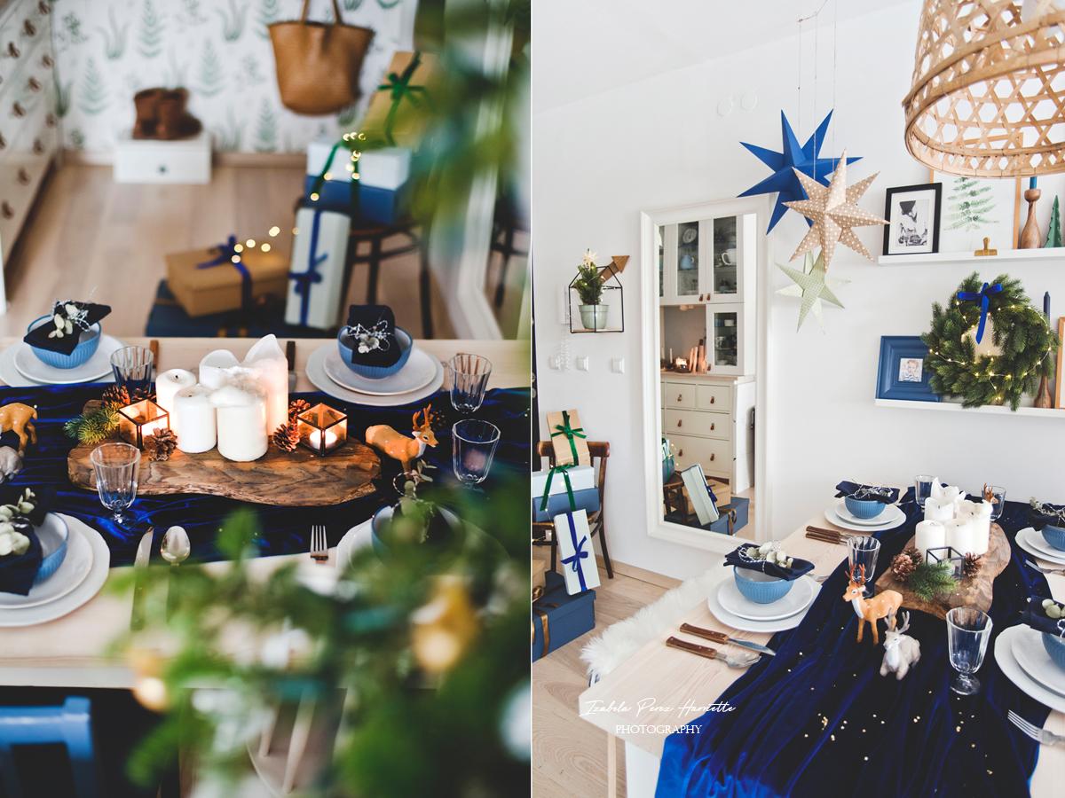 blue velvet christmas, table scape, świąteczny stół, święta w kolorze niebieskim