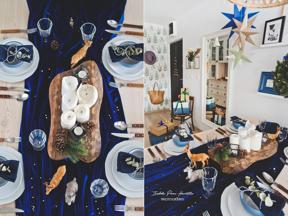 blue velvet christmas, table scape, świąteczny stół, święta w kolorze niebieskim,świece, stare drewno