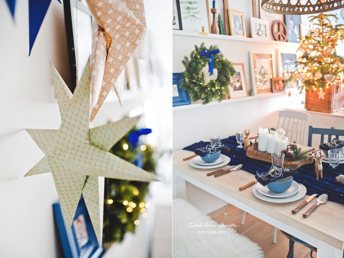 blue velvet christmas, table scape, świąteczny stół, święta w kolorze niebieskim, paper star