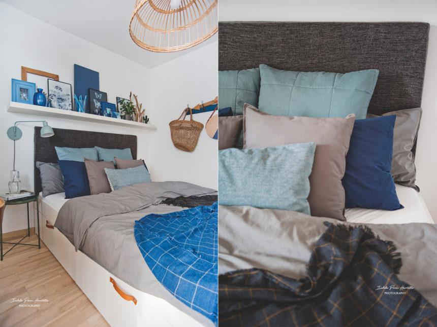 tekstylia w sypialni, ciemna sypialnia, IKEA