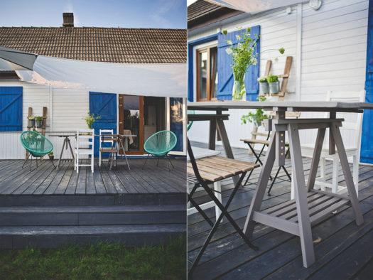 drewniany taras, lazura do drewna, stół na taras