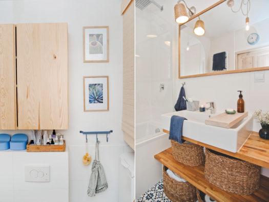 biała łazienka, łazienka w bloku, łazienka z drewnem i wykliną, łazienka w rustykalnym stylu,łazienka w skandynawskim stylu, przechowywanie w łazience