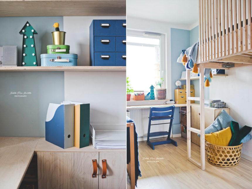 biuro ze sklejki, meble ze sklejki, biurko ucznia, pokój braci , pokój chłopców, kolorowe wnętrze, biurko DIY