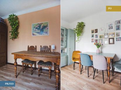 stół z kolorowymi krzesłami