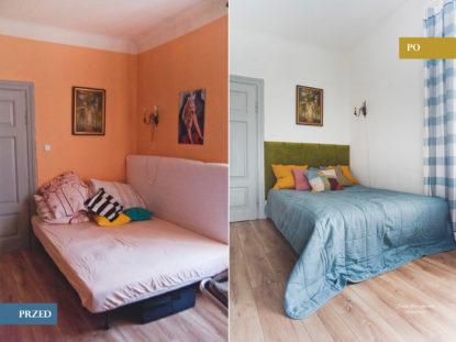 metamorfoza sypialni, zagłówek z paneli w aksamicie