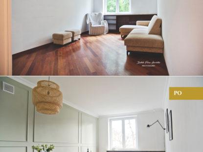 home staging salonu, elegancki salon, zestawienie przed i po, sztukateria, oliwkowa ściana