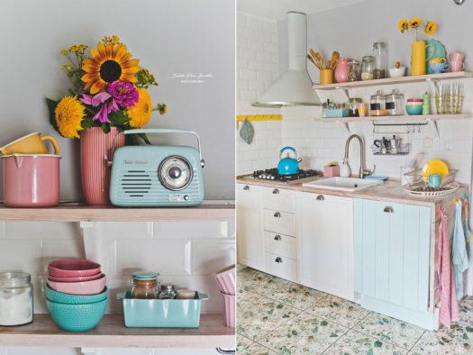 pastelowa kuchnia, retro agd, pastelowe dekoracje, retro kuchnia