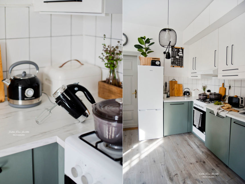 eklektyczna kuchnia, retro małe AGD, czarne AGD, minimalistyczna kuchnia, kuchnia ikea BODARP